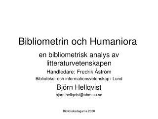Bibliometrin och Humaniora