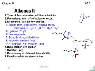 Alkenes II 1. Types of Rxn.: elimination, addition, substitution