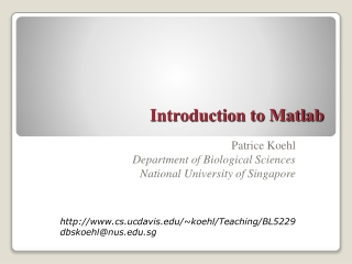 A Mathematician s Introduction to MATLAB