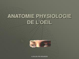 ANATOMIE PHYSIOLOGIE DE L�OEIL