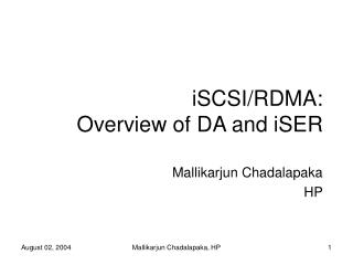 iSCSI/RDMA: Overview of DA and iSER