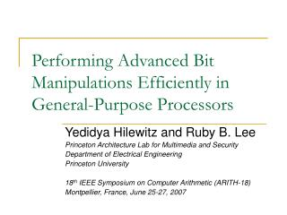Performing Advanced Bit Manipulations Efficiently in General-Purpose Processors