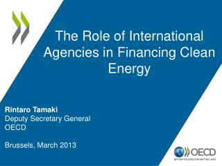 Rintaro Tamaki Deputy Secretary General OECD Brussels, March 2013