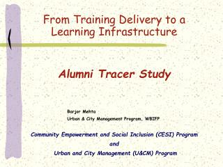 Community Empowerment and Social Inclusion CESI Program and  Urban and City Management UCM Program