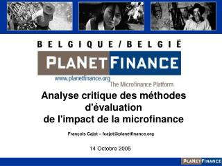 Analyse critique des méthodes d'évaluation  de l'impact de la microfinance