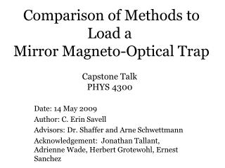 Comparison of Methods to Load a  Mirror Magneto-Optical Trap