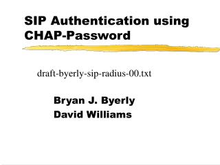 SIP Authentication using CHAP-Password