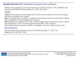 Sample Exercise 16.1  Identifying Conjugate Acids and Bases