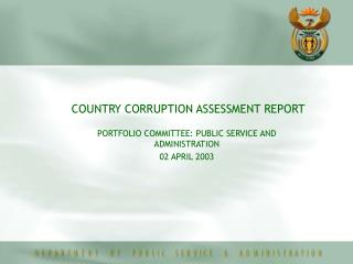 COUNTRY CORRUPTION ASSESSMENT REPORT