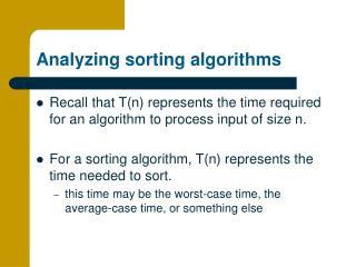 Analyzing sorting algorithms