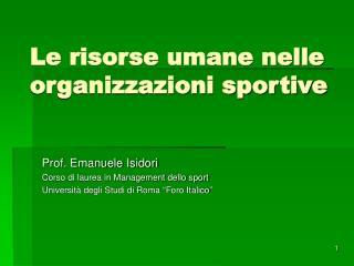 Le risorse umane nelle organizzazioni sportive