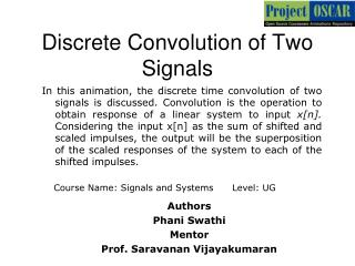 Discrete Convolution of Two Signals