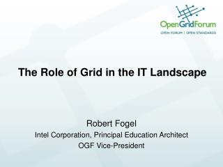 The Role of Grid in the IT Landscape