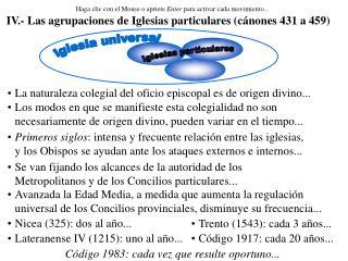 IV.- Las agrupaciones de Iglesias particulares (c�nones 431 a 459)