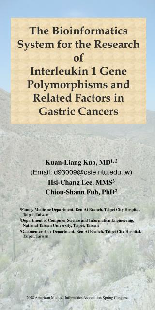Kuan-Liang Kuo, MD 1, 2 ( Email: d93009@csie.ntu.tw ) Hsi-Chang Lee, MMS 3