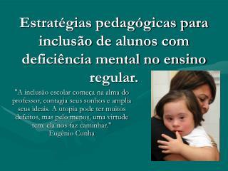 Estratégias pedagógicas para inclusão de alunos com deficiência mental no ensino regular.