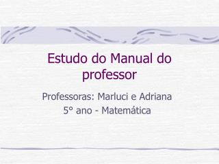 Estudo do Manual do professor