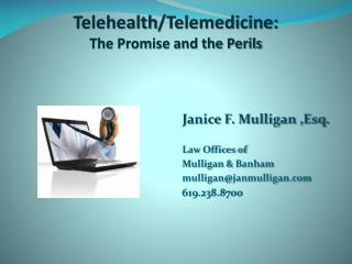 Telehealth /Telemedicine:  The Promise and the Perils