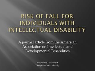 Risk of fall for individuals with intellectual disability