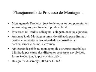 Planejamento de Processo de Montagem