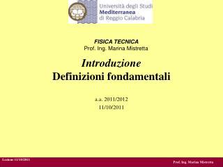 Introduzione Definizioni fondamentali