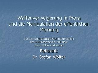 Referent: Dr. Stefan Wolter