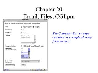 Chapter 20  Email, Files, CGI.pm