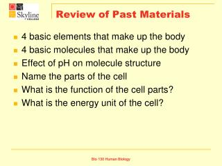 Review of Past Materials