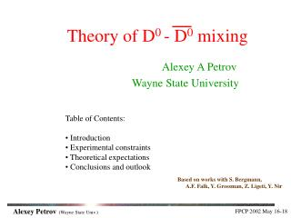 Theory of D 0  - D 0  mixing