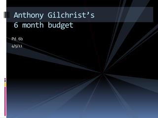 Anthony Gilchrist's 6 month budget
