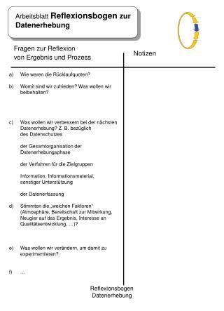 Arbeitsblatt  Reflexionsbogen  zur  Datenerhebung