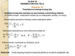 GLAVA VII DINAMIKA KRUTOG TELA