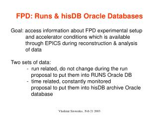 FPD: Runs & hisDB Oracle Databases