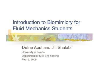 Introduction to Biomimicry for Fluid Mechanics Students