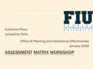 Assessment Matrix Workshop