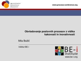 Obvladovanje poslovnih procesov z vidika kakovosti in inovativnosti