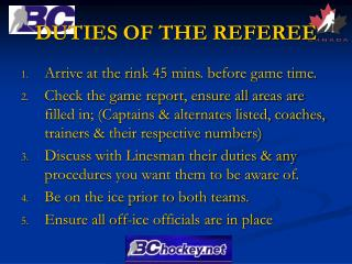 DUTIES OF THE REFEREE