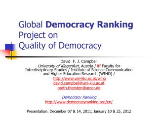 Global  Democracy Ranking  Project on Quality of Democracy