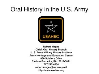 Oral History in the U.S. Army