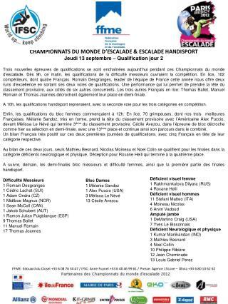 CHAMPIONNATS DU MONDE D' ESCALADE  & ESCALADE HANDISPORT Jeudi 13 septembre – Qualification jour 2