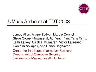 UMass Amherst at TDT 2003