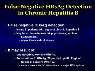 False-Negative HBsAg Detection in Chronic Hepatitis B