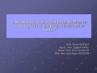 WHAT MENTEES GAIN FROM THEIR MENTORS?:  A CASE STUDY IN THE ENGINE INDUSTRY IN TURKEY
