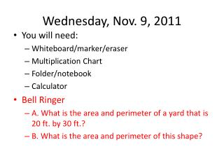 Wednesday, Nov. 9, 2011