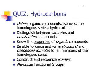 QUIZ: Hydrocarbons