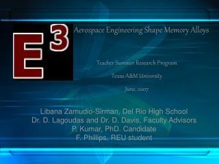 Teacher Summer Research Program  Texas A&M University June, 2007