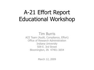 A-21 Effort Report Educational Workshop