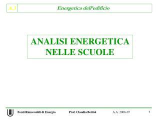 ANALISI ENERGETICA NELLE SCUOLE