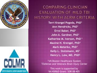 Comparing Clinician Evaluation of mild TBI history with ACRM Criteria