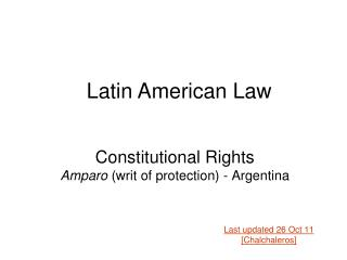 Constitutional Rights  Amparo  (writ of protection) - Argentina